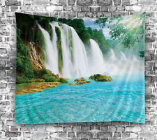 """Waterfall Tropical Oasis TAPESTRY 60x80"""" Beach Hanging Fabric Wall Decor Art"""