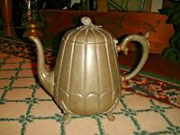 Antique Thomas Otley & Sons Ribbed Metal Teapot Sheffield Marked 5046