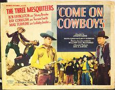 COME ON COWBOYS! '37 3 MESQUITEERS WESTERN ORIGINAL U.S. 1/2-SHEET FILM POSTER!