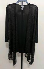 Chico's Travelers Lace Cardigan Sz 3 XL Black 3/4 Sleeve Open Front Drape NEW