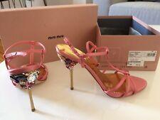 Miu Miu Sandalette High Heels Pumps rosa Strass Glitzersteine 39