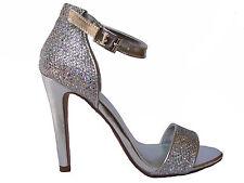 Silver Glitter Dress Open Toe Ankle Strap Stilettos Heels Sandals Shoes 7