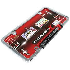 Dodge Chrome-Black-Red Stripes License Plate Tag Frame for Auto-Car-Truck