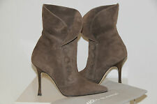 NEW MANOLO BLAHNIK ALDEN SUEDE ANKLE BOOTS SHOES BEIGE BROWN TAUPE 36.5 6