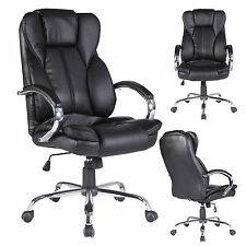 Office Chair High Back Executive Swivel Computer Desk Chair PU Leather Black