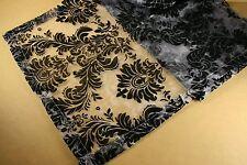"15"" x 72"" BLACK Flocked BAROQUE DAMASK Sheer ORGANZA Table RUNNER"