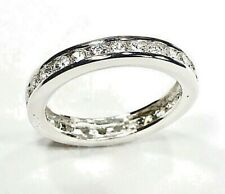 925 Sterling Silver Cz Eternity Band Channel Set Wedding Ring Cubic Zirconia