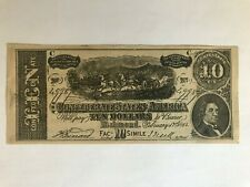 $10 Confederate facsimile advertising currency Patented February 17th, 1864.