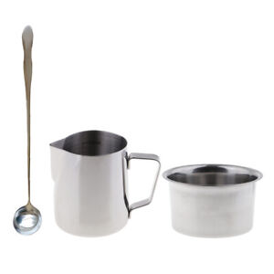 3pcs Candle Making Pouring Pitcher Wax Melting Pot Double Boiler with Spoon