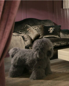 Vintage Large Dog Footstool  XL in Mongolian wool. Design & Handmade In Italy