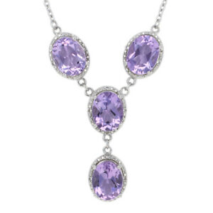 """Sterling Silver Amethyst & White Topaz Necklace 18 1/2"""" - 925 Oval Cut 7.10ctw"""