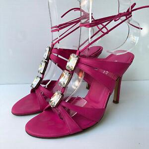 Karen Millen pink leather diamante starppy heels sandals party shoes 37 4 VGC