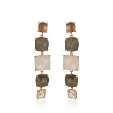 Moonstone Labradorite Gemstone 925 Silver Drop Earrings Handmade Jewelry