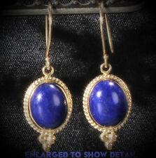 14K Yellow Gold Lapis Lazuli Earrings Cabochon Etruscan Style Dangle Earrings