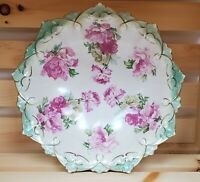 "MZ Austria Pink Peony Bowl Green and Gold Trim 10 1/2"" Vintage Austrian"