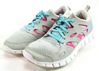 Nike Free Run 2.0 $90 Girl's Youth Running Shoes Size 7 Gray Hot Pink Blue