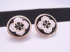 Antique 14K Gold Filled & Enamel Floral Flower Quatrefoil Cufflinks Buttons