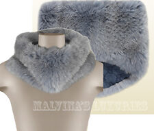 $1,395 GUCCI FOX FUR & WOOL RING SCARF STOLE MIDNIGHT BLUE & GRAY