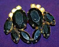 Vintage Earrings Black & Clear Costume Jewelry Rhinestone clip-on