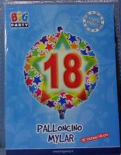 """PALLONCINO COMPLEANNO 18 ANNI TONDO 18"""" 45 cm diametro MYLAR FOIL FESTA PARTY"""