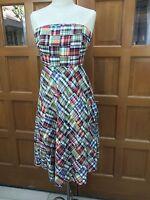 Sz 0 J. Crew Strapless Dress Patchwork 100% Cotton Madras Plaid Multi-Color