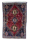 All Wool Authentic Shira z Hand Knotted Vintage Qash Qai Rug Horse head 4'x6'