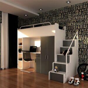 Etagenbett Kinderhochbett mit Schreibtisch Schrank Regal Matratze INKLUSIV!