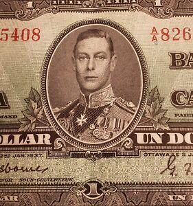 RARE 2 CONSECUTIVE 1937 Canada $1 Banknotes. OSBORNE Signed & High Grade.