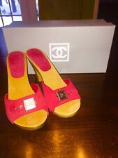 Chanel - Red Suede Mule Sandal High Heel Wood Platform Shoes - Size 37