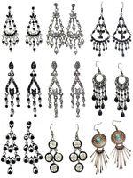Ladies Women Black Bead Silver Large Crystal Diamante Stud Drop Long Earrings UK