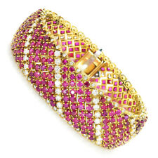 Vintage Ruby Bracelet with Diamonds 18K Yellow Gold 33.00ctw