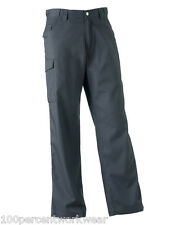 "GREY Size 30"" Waist REG Leg Russell Mens Work Wear Trousers Pants Cargo 001M New"