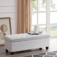 "48"" Rectangular Laguna Tufted Ottoman Footrest Fabric Large Storage Bench, White"