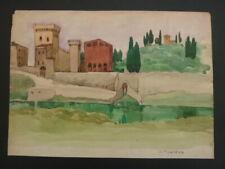 Italie Italia Provence Marseille  Belle aquarelle Jean Frederic Canepa 1894 1981