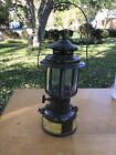 Old Coleman Dark Green Military Issue 1958 Gasoline Lantern With Quadrant GlassOriginal Period Items - 13982