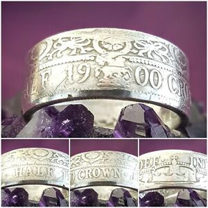 Silver Coin Ring Size Z+1 .925 Silver 1900 Halfcrown Coin Ring