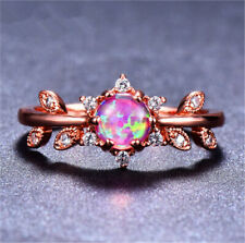 Rose Gold Oval Cut Pink Artificial Opal Rings Wedding Engagement Jewelry Size 8#