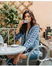 Zara nuevo mujer Tweed Chaqueta Deshilachado Adornos Azul XL 2596/474