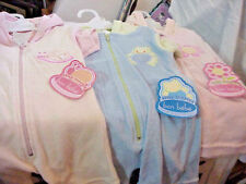 LOT OF  3   BON BEBE  1-PIECE   TERRY CLOTH   HOODED   ZIP FRONT