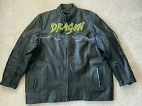 Men's Dragon  Black Leather Biker Motorcycle Jacket Size XL