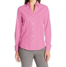 Foxcroft Womens Lauren Essential Non Iron Shirt Blouse Pinktini Fitted 12 Large