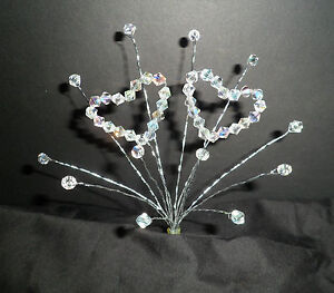 CRYSTAL DOUBLE HEART CAKE TOPPER WEDDING, BIRTHDAY, ANNIVERSARY ANY OCCASION