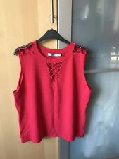 BRAND NEW WITHOUT TAGS LADIES M&Co RED DIAMANTE DETAILED SIZE XXL SLEEVELESS TOP