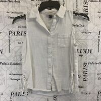 Universal Thread Womens Shirt Solid White Button Down Sleeveless Size XS