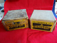 A PAIR OF VINTAGE STRIKERIGHT CENTRE PIN REEL BOXES (BOXES ONLY NO REELS)