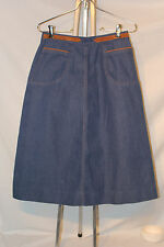 Vtg 70s Denim Union Made Usa Skirt Pockets Brown Faux Suede Accents Western S Xs