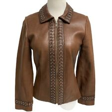 Double D Ranch women's jacket brown studded leather zippered size XS