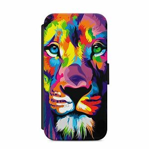 Lion Roar King Simba Colourful Art Wallet Flip phone Case Cover iPhone & Samsung