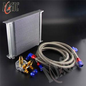 34 Row Engine Oil Cooler w/ Thermostat 80 Deg Oil Filter Adapter Kit