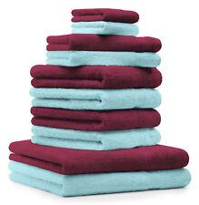 Betz lot de 10 serviettes rouge foncé & turquoise serviettes et gants Premium